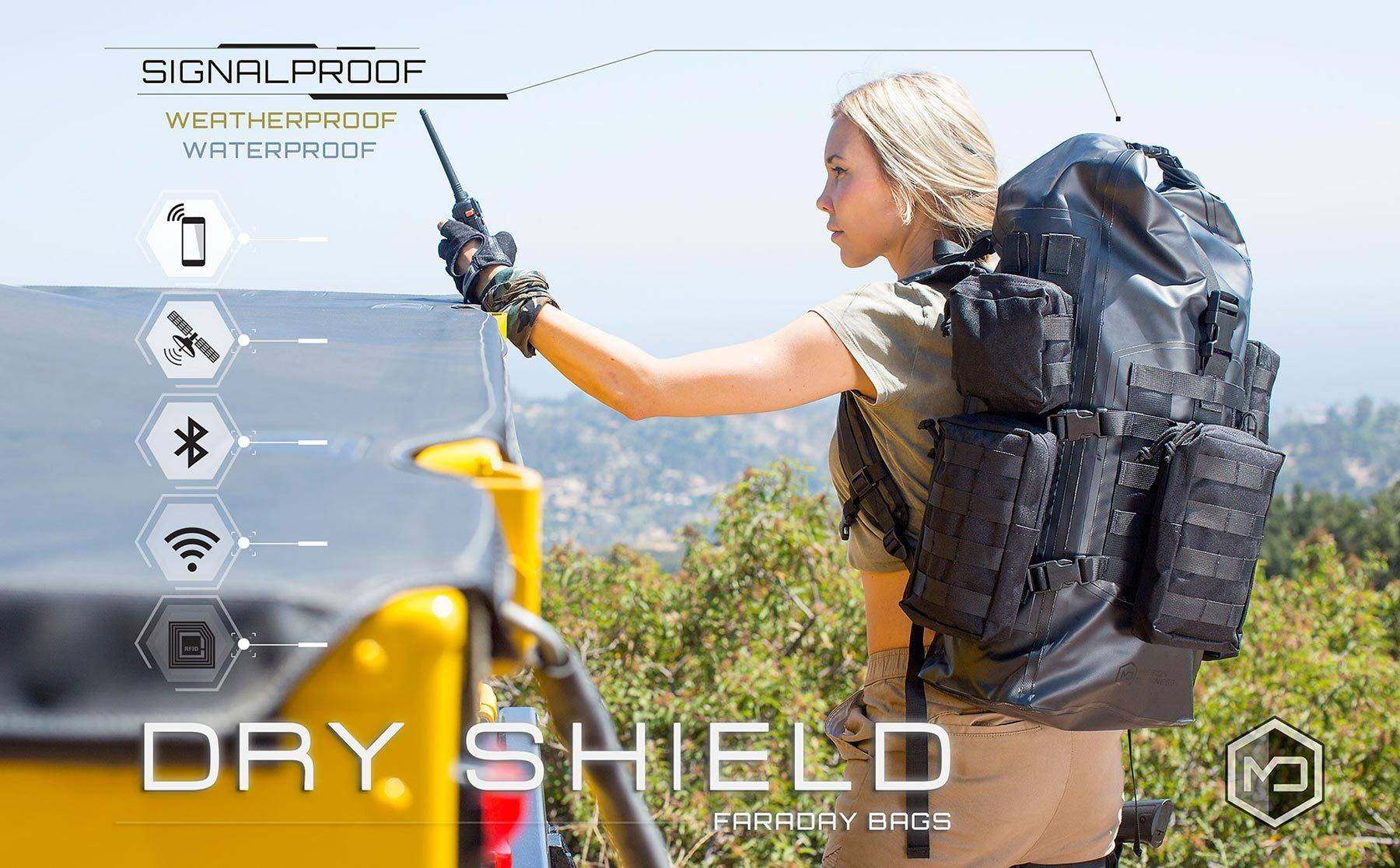 Mission Darkness™ Dry Shield Faraday Bags are weatherproof, waterproof, signalproof