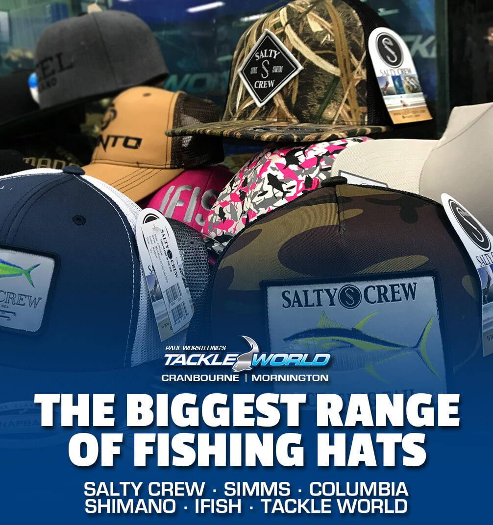 Biggest Range of Fishing Hats at Paul Worsteling's Tackle World Cranbourne & Mornington