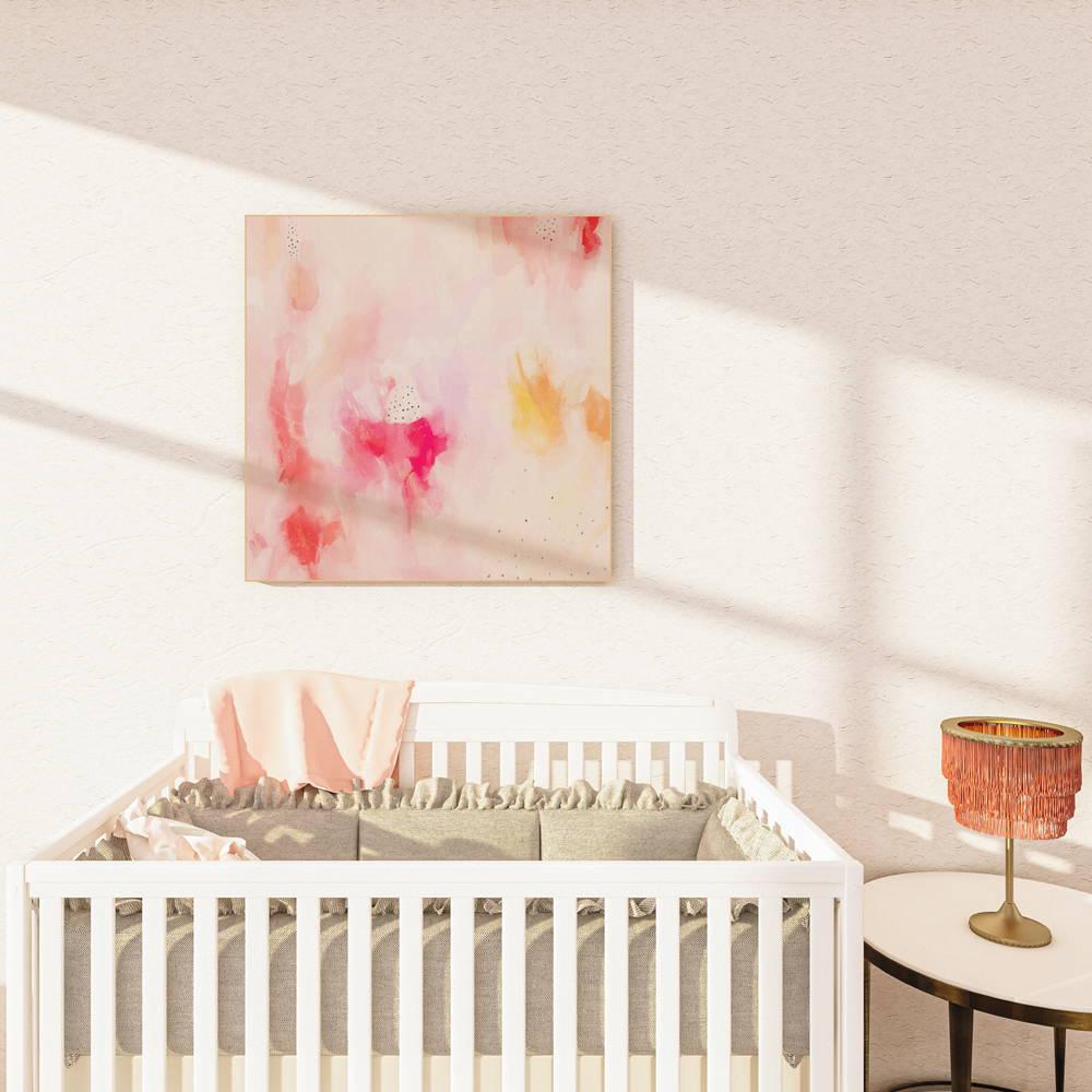 Pink square abstract art in nursery via Parima Studio - wall art