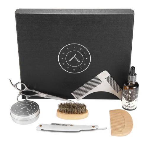 Luxurious Shaving Beard Grooming Kit by Naked Armor Razor, Scissor, Comb and Oil Kit