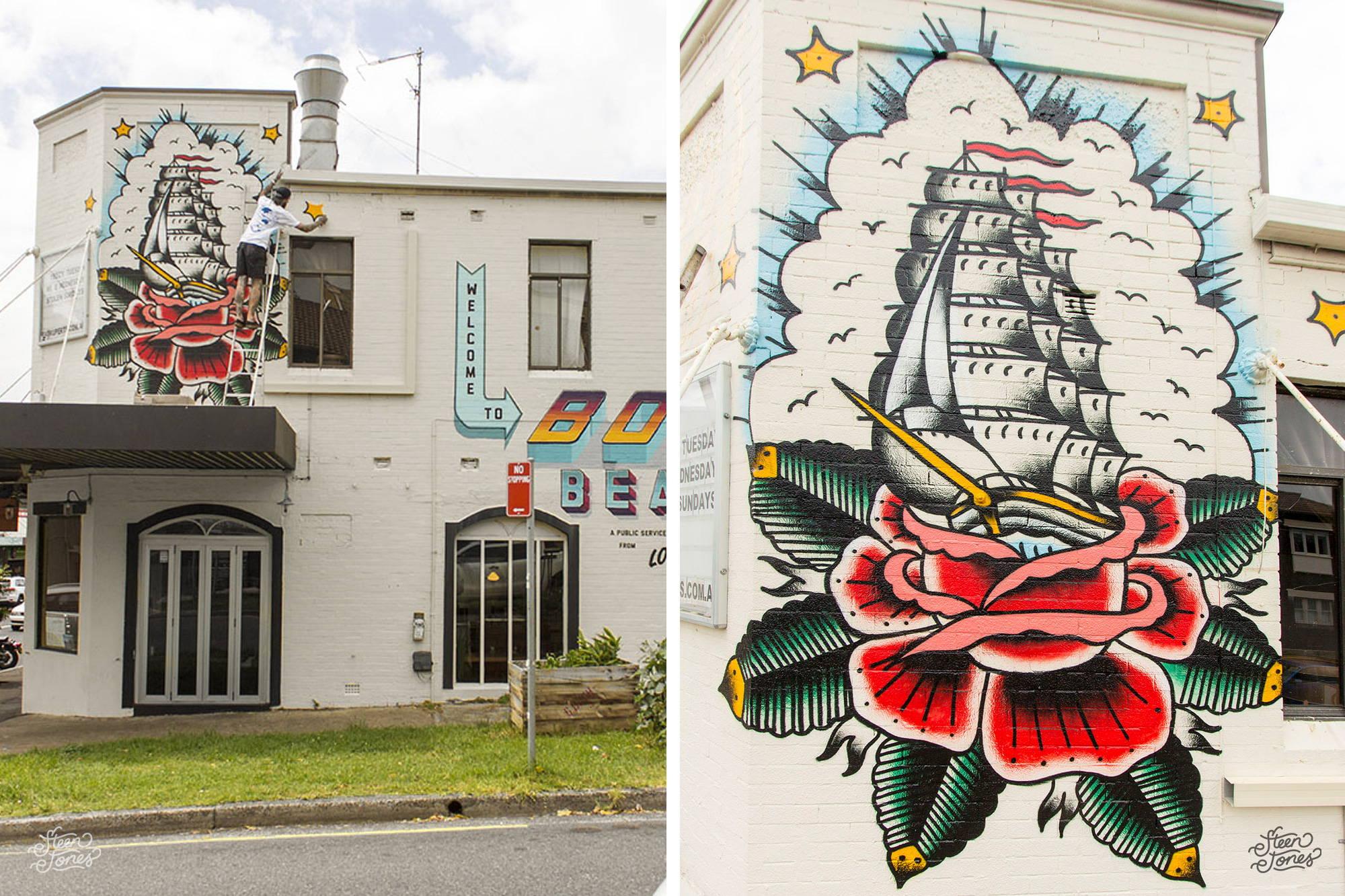 Steen Jones tattoo street artist Australia Fat Ruperts Bondi