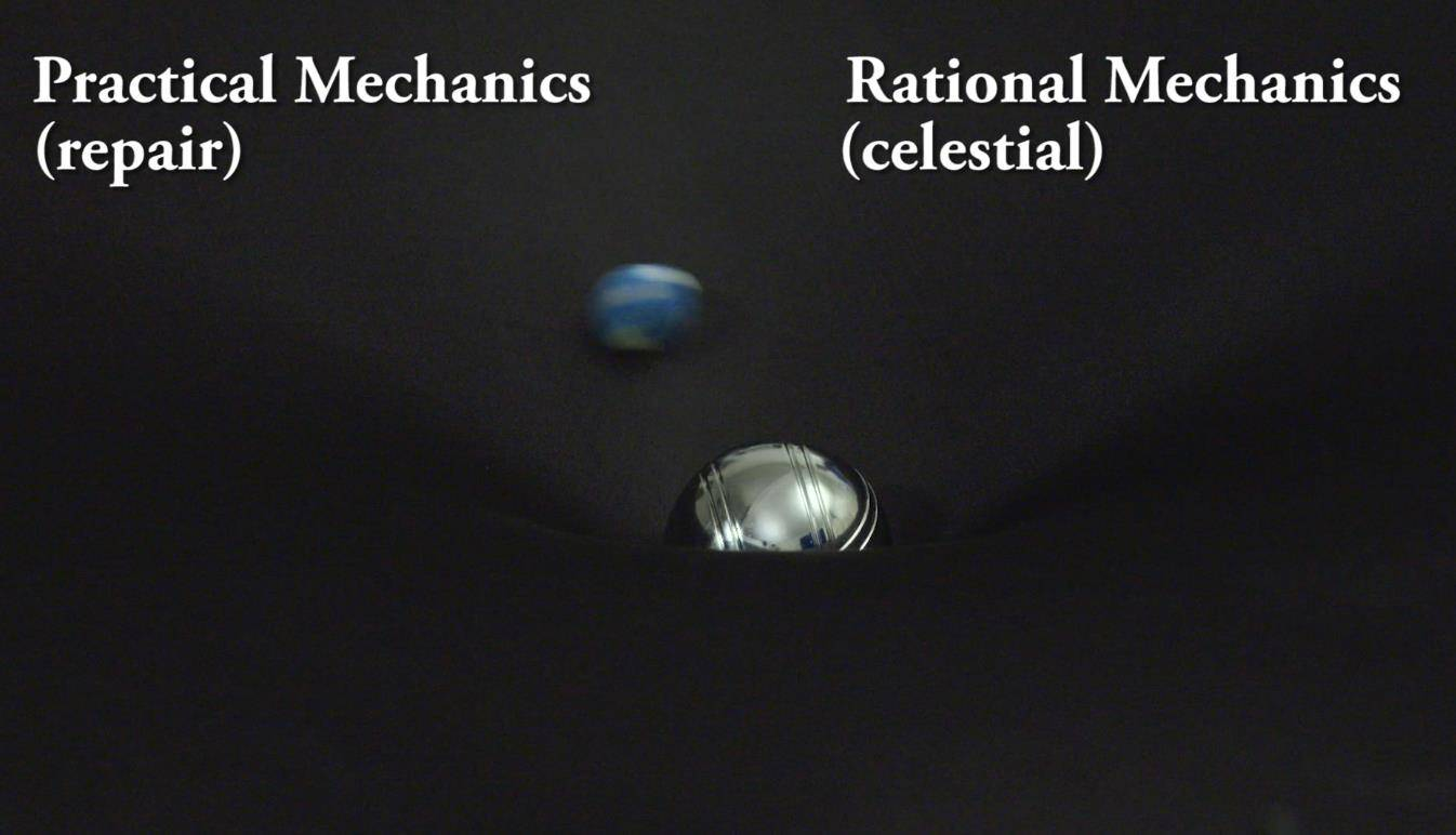 Practical Mechanics and Rational Mechanics in one picture. Perhaps there is only one type of mechanics after all? A Gravity Well was used in this demonstration.