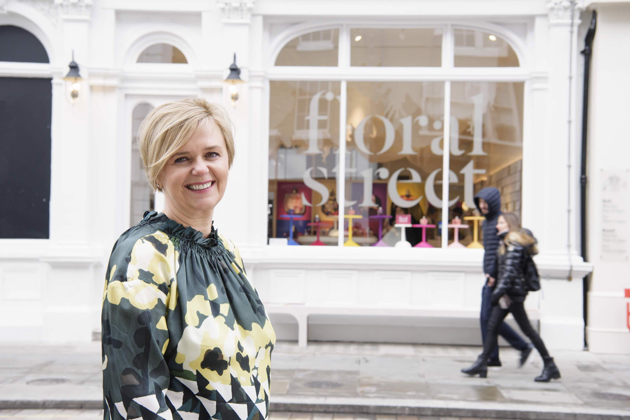 Michelle Feeney founder of Floral Street putside the flagship store in Covent Garden, London