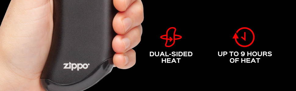 HeatBank® 9s Rechargeable Hand Warmer with information on duel side heat, and up to 9 hours of heat.
