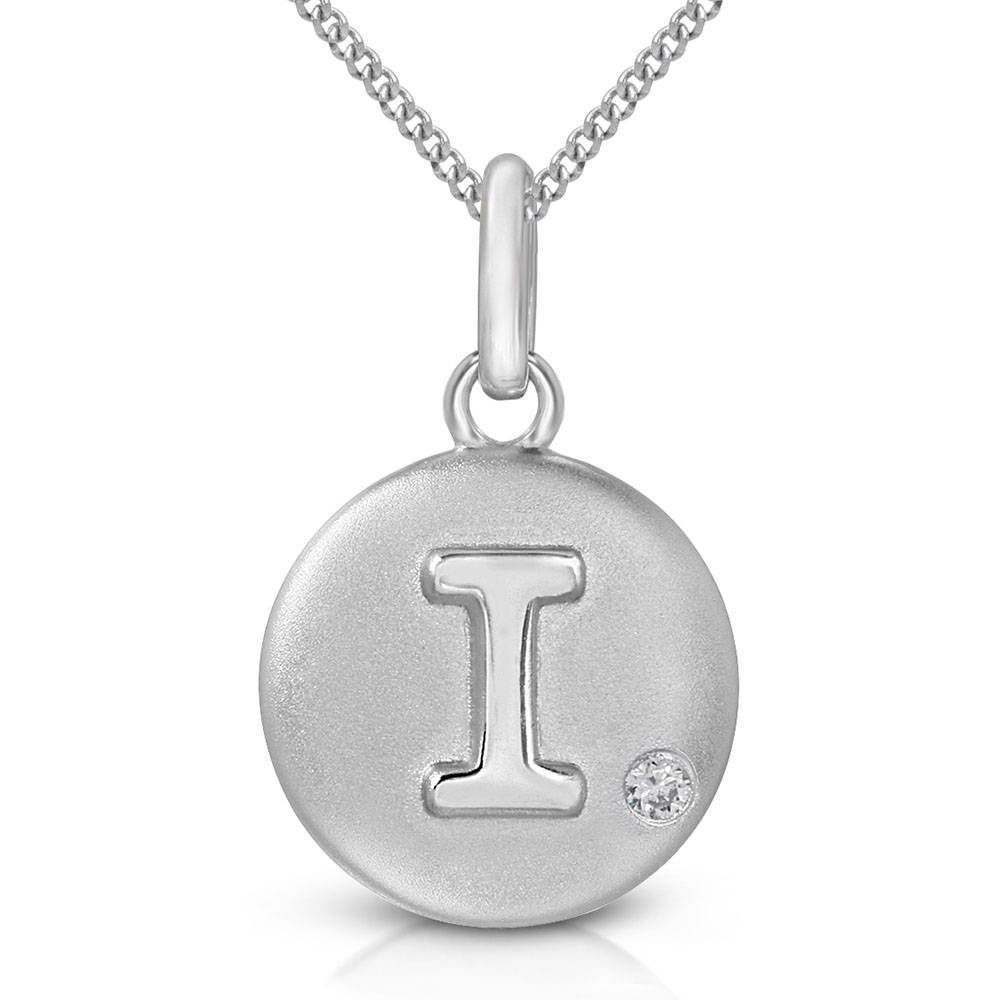 Pure at Birth letter I pendant with curb link necklace