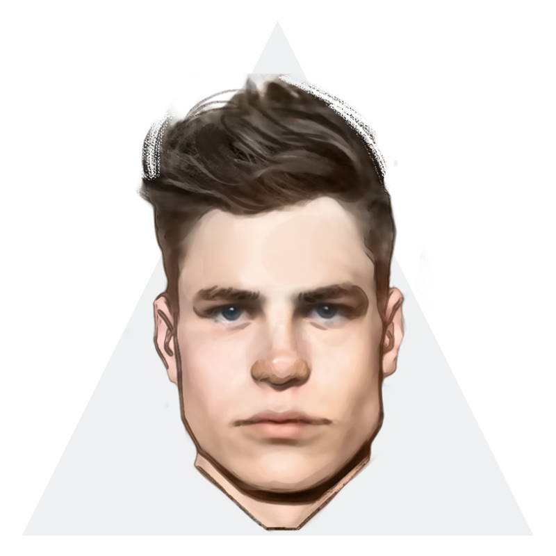 e7b5965aea A triangle face is widest at the jaw and gradually narrows through the  forehead.
