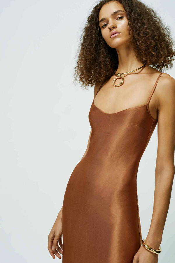Galvan London Backless Cropped Busiter Rust Dress