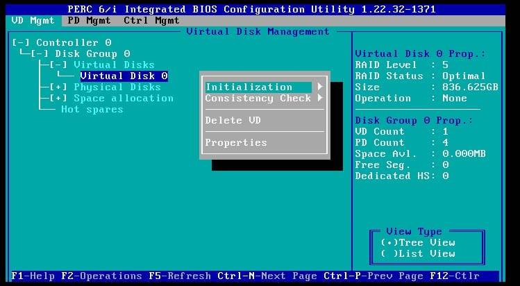 initializing a virtual disk on the perc 6i raid controller