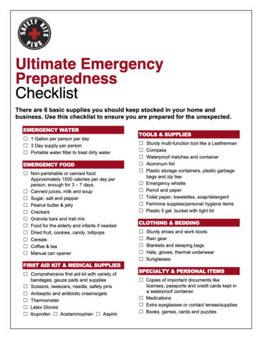 Ultimate Emergency Preparedness Checklist from Safety Kits Plus be prepared for a natural disaster or emergency