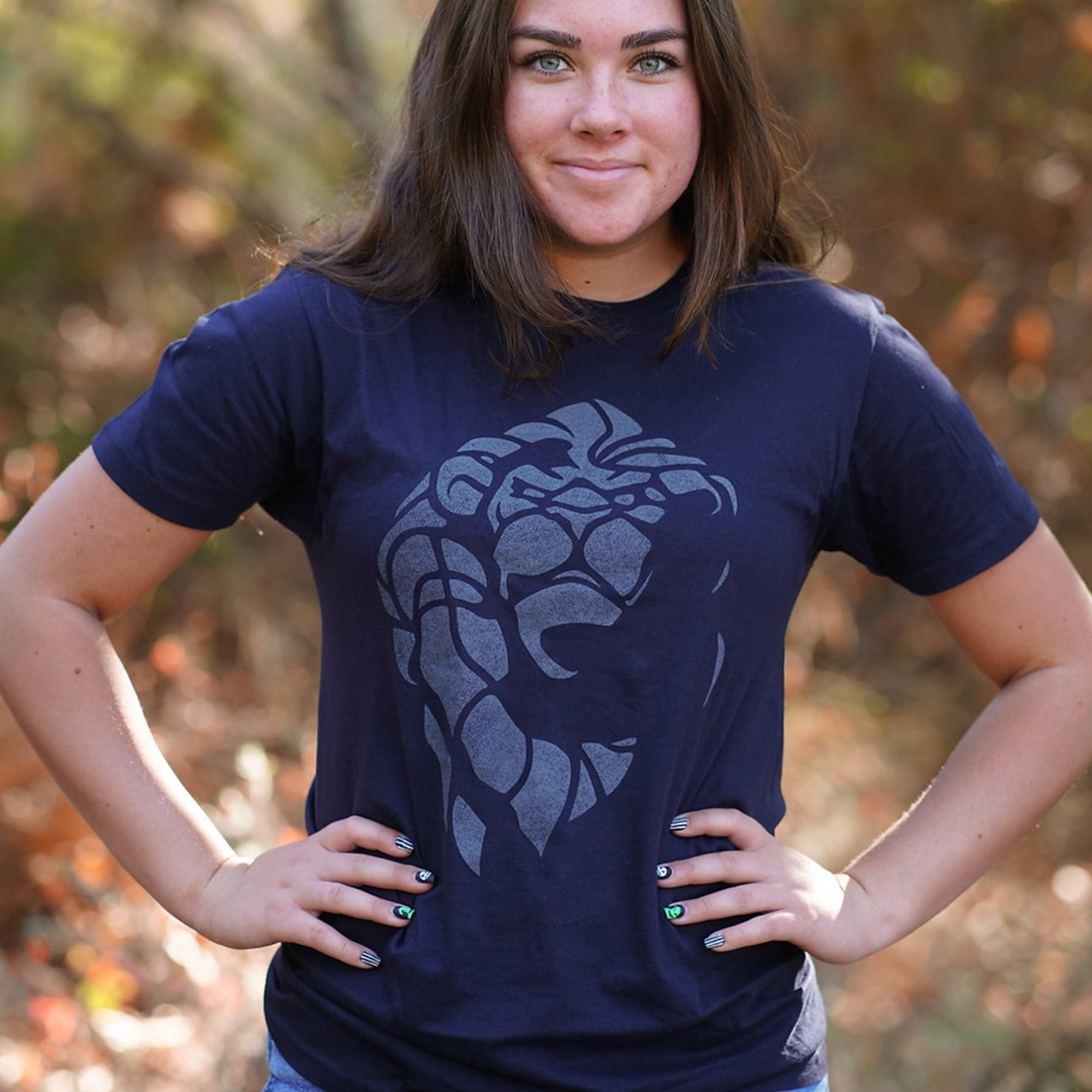 A model wearing a World of Warcraft premium tee