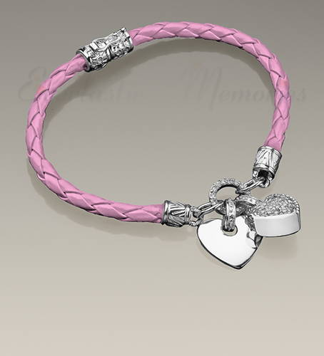 Silver Plated With Pink Leather Cremation Bracelet