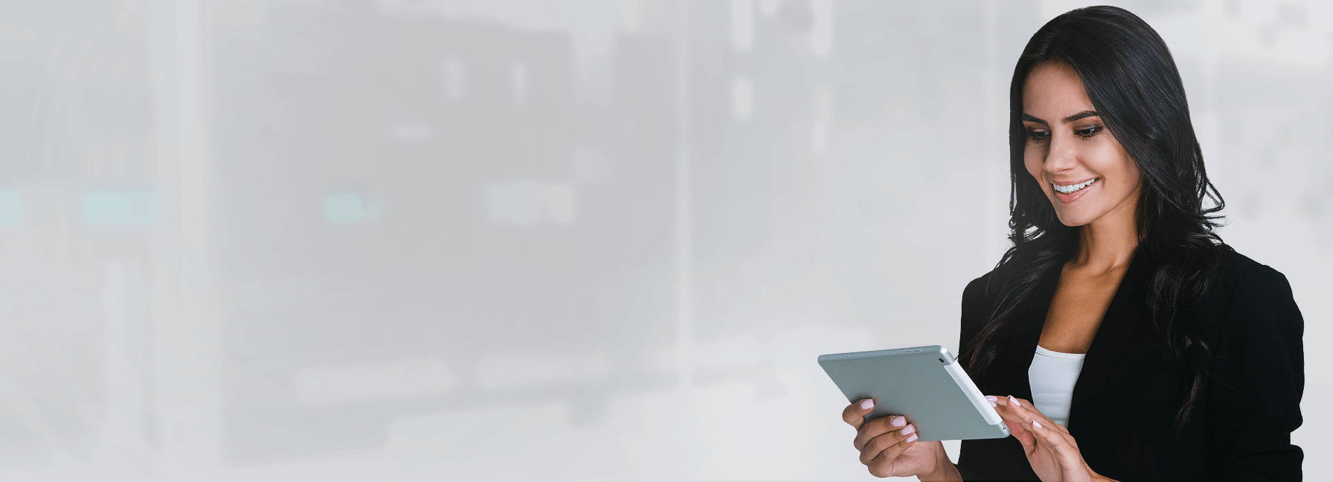 Header image of a woman taking Content Enablers courses on her device