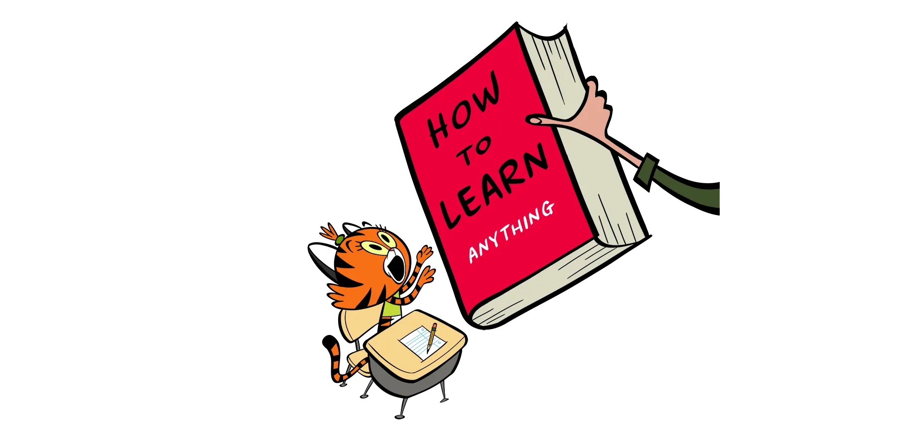 illustrated cat learning to read