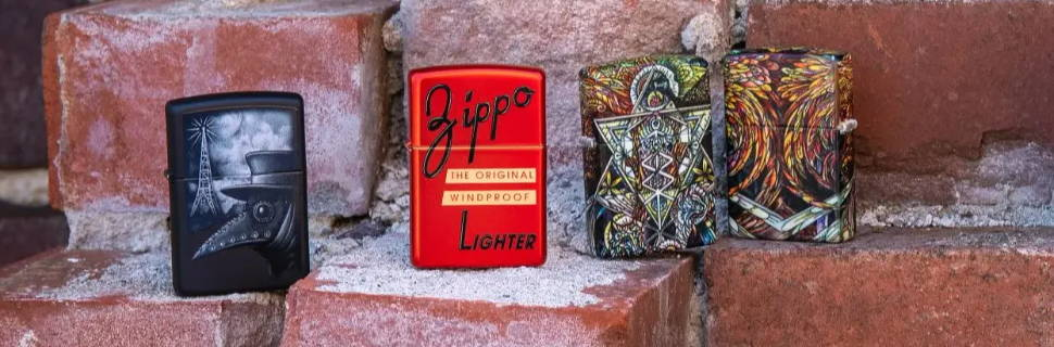 Lifestyle image of Plague of Disinformation,  Zippo Red Box Top Design, and Abstract Psychedelia design standing on a brick wall