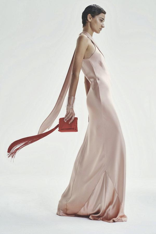 Galvan London Asymmetrical Halter Neckline Satin Dress