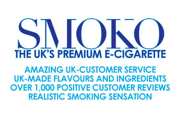 SMOKO offers amazing UK customer service. UK made flavours and ingredients. Over 1000 positive customer reviews. Realistic smoking sensation.