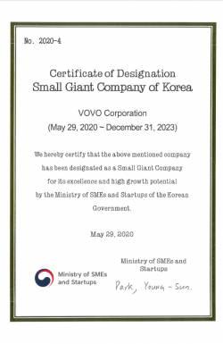 Certificate of Designation Small Giant Company of Korea