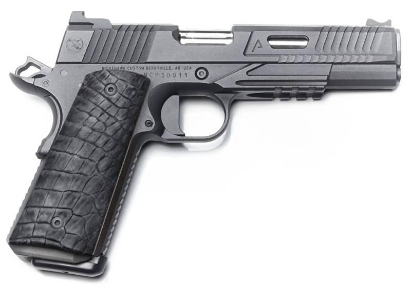 Genuine alligator leather gun grip