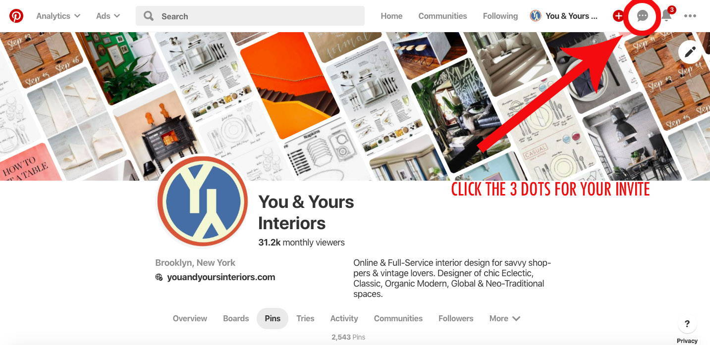 The You & Yours Interiors Pinterest page.