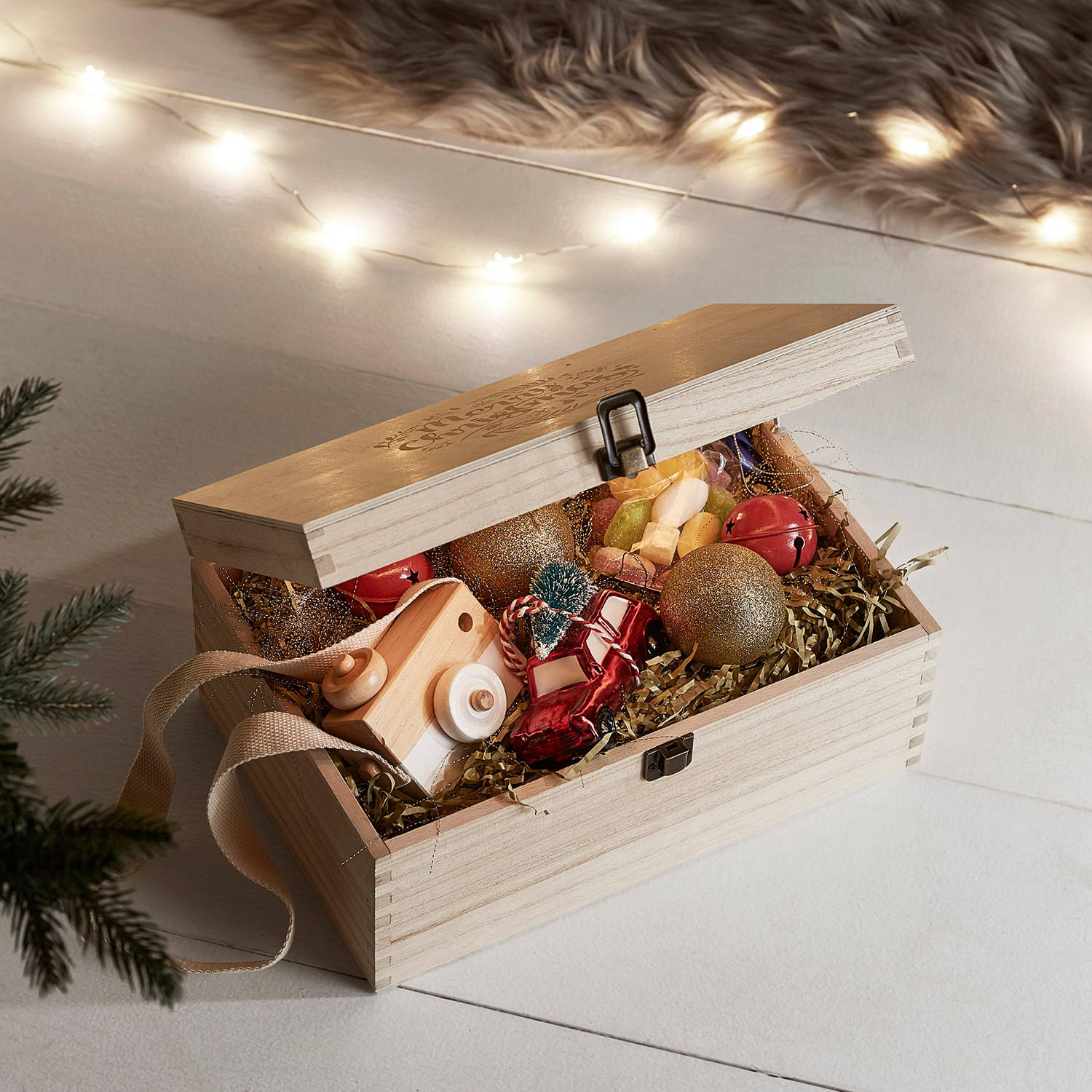 Light Up Christmas Eve Box filled with toys the night before Christmas