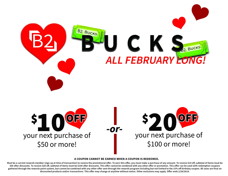 B2 Bucks, $10 Off, $20 Off
