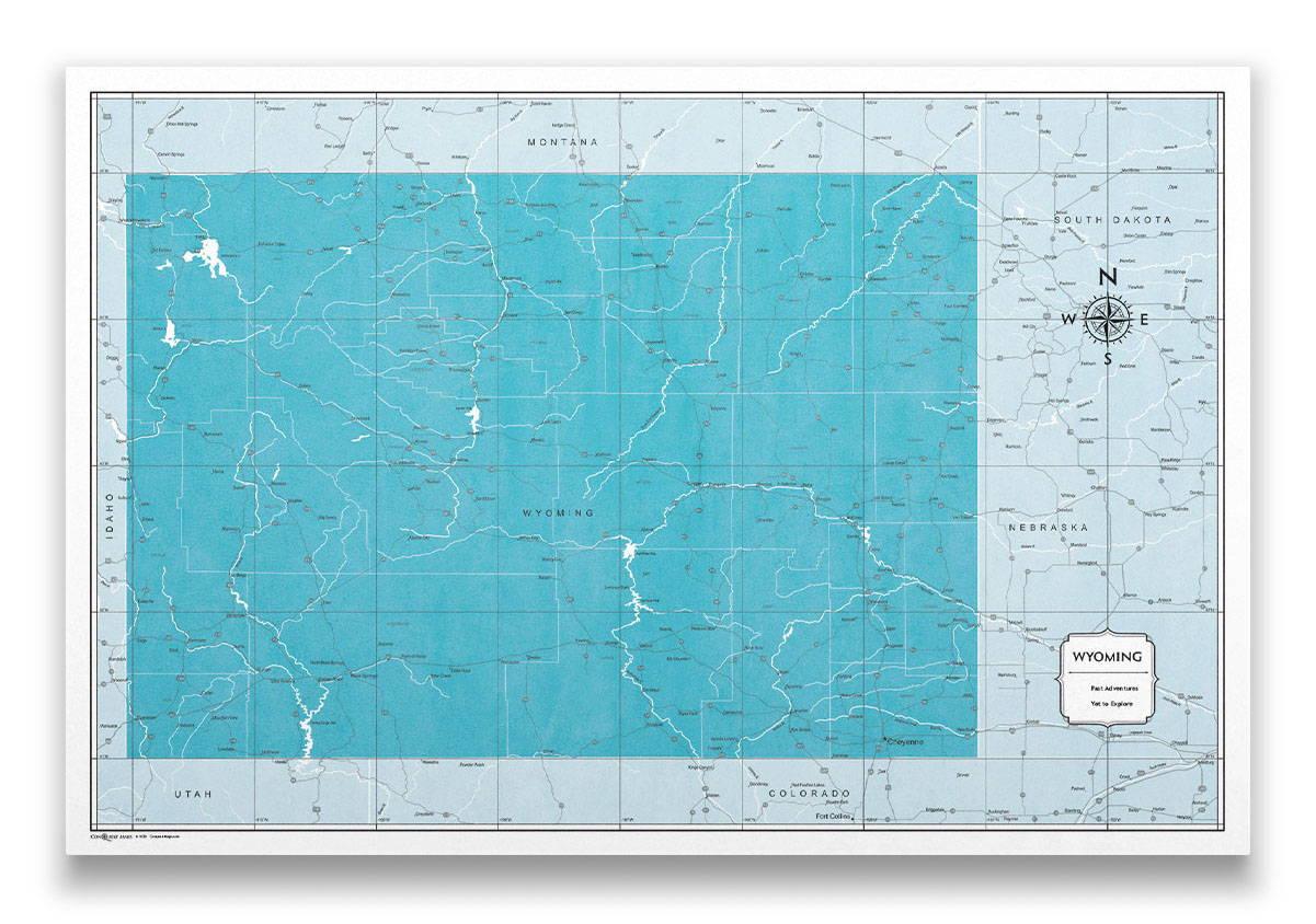 Wyoming Push pin travel map color splash