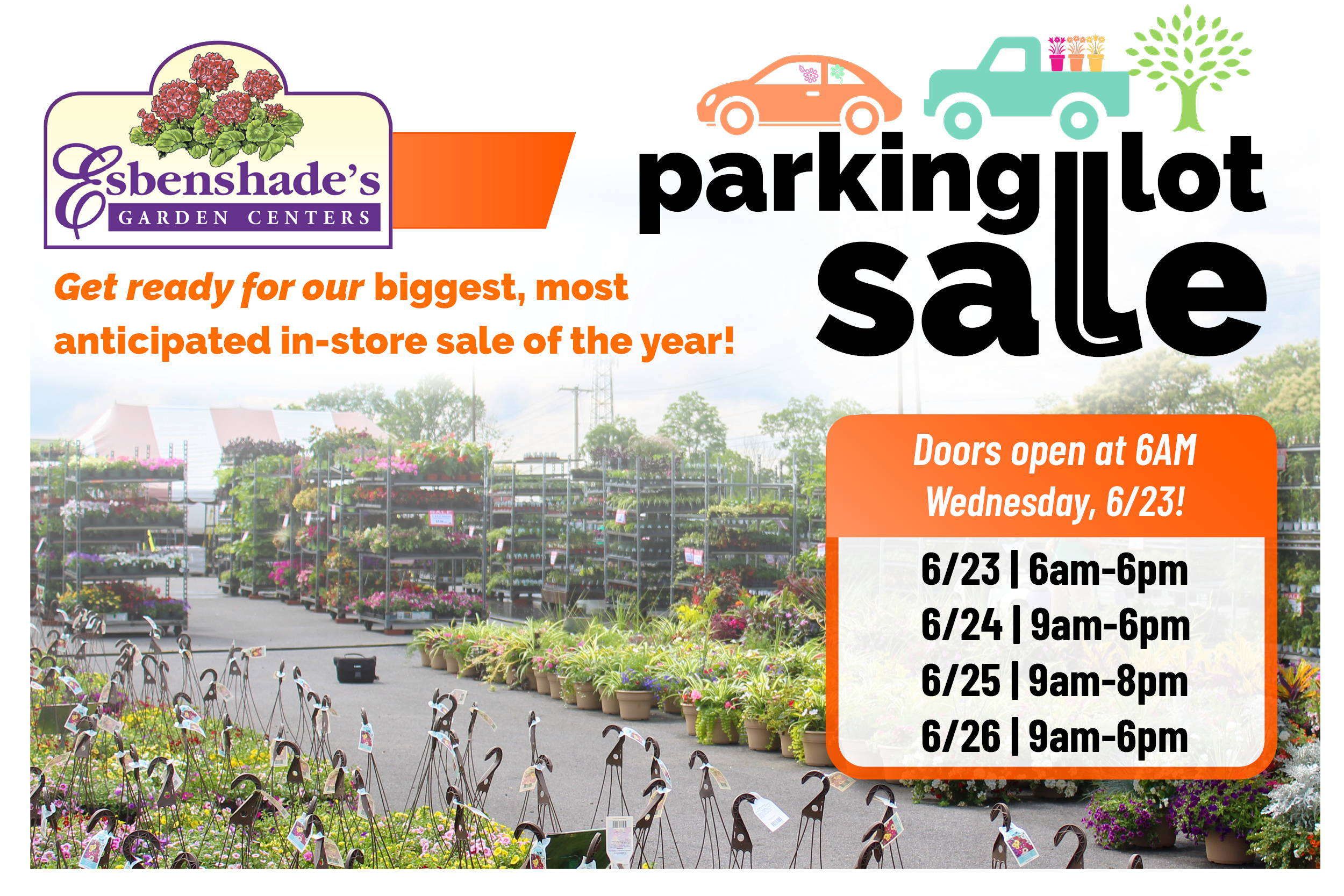 Parking Lot Sale - Get Ready for our biggest, most anticipated sale of the year! 6/23 - 6/26. Click for more details.