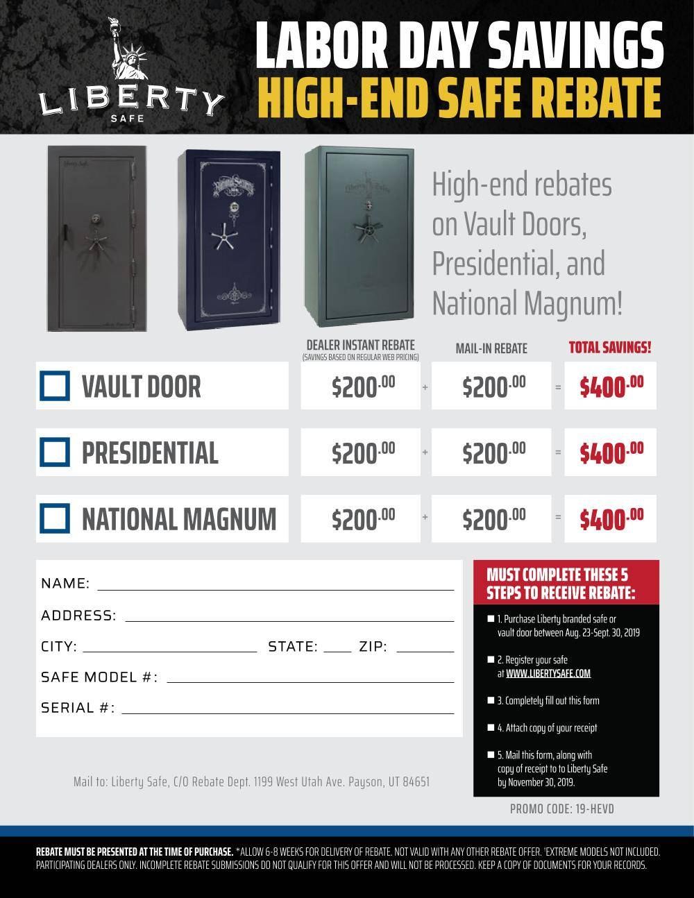 Liberty Safe Labor Day Mail in Rebate