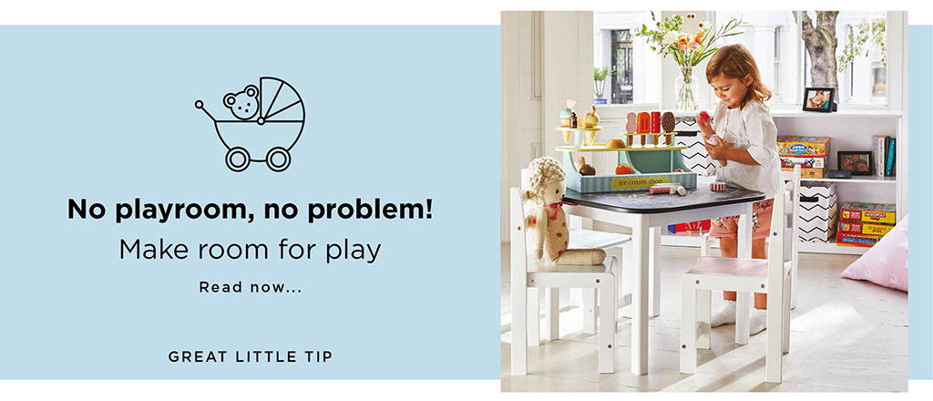 kids' playroom with toddler table and chairs