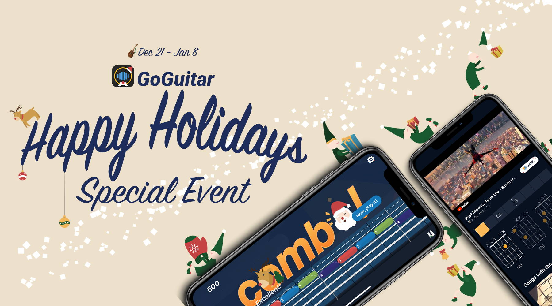 GoGuitar -  the smartest and most interesting app to learn and enjoy playing guitar. From beginners to accomplished players, everyone can easily learn to play any song you want or master new skills with hundreds of lessons and practicing games in GoGuitar.