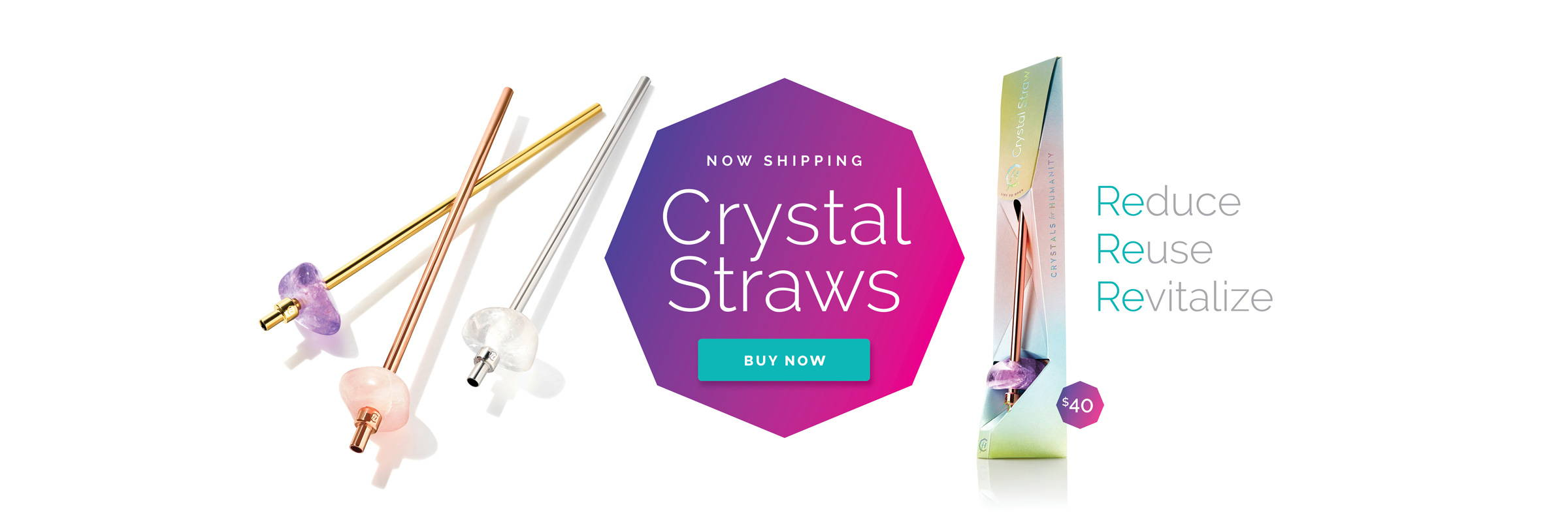 Crystals for Humanity Reusable Crystal Straws