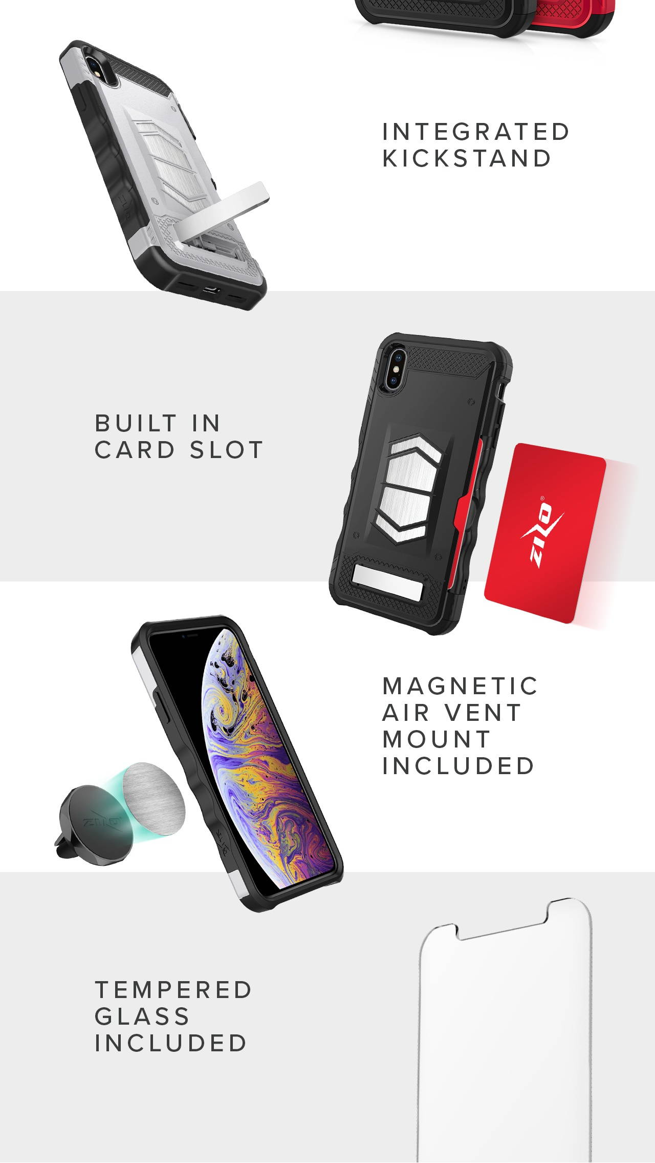iPhone case with kickstand, tempered glass screen and card slot wallet magnetic mount