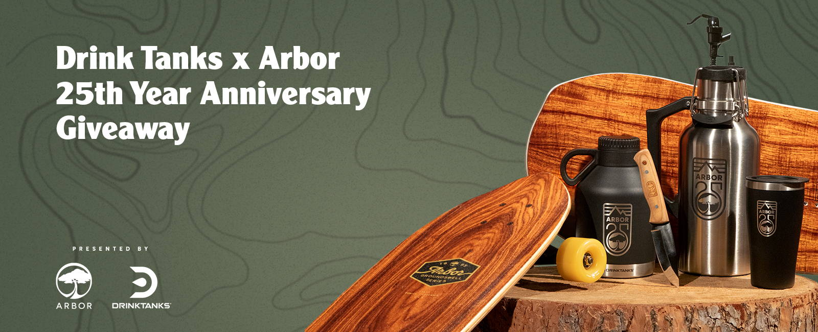 Drink Tanks x Arbor 25th Year Anniversary Giveaway Presented by Arbor and Drinktanks. Prizes pictured