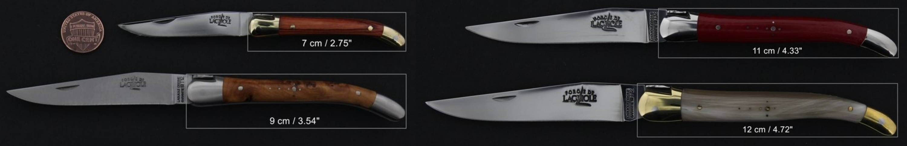 Laguiole Knives sizes