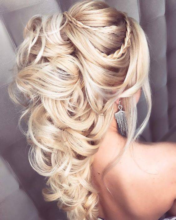 Bride with curly ponytail