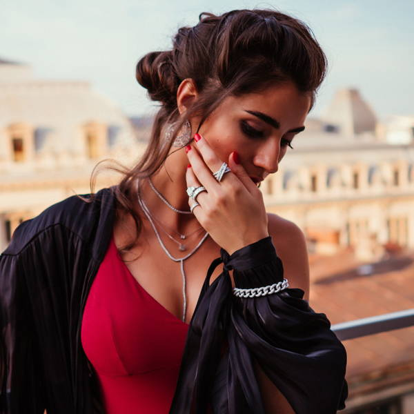 Model wearing Ring Concierge fine jewelry