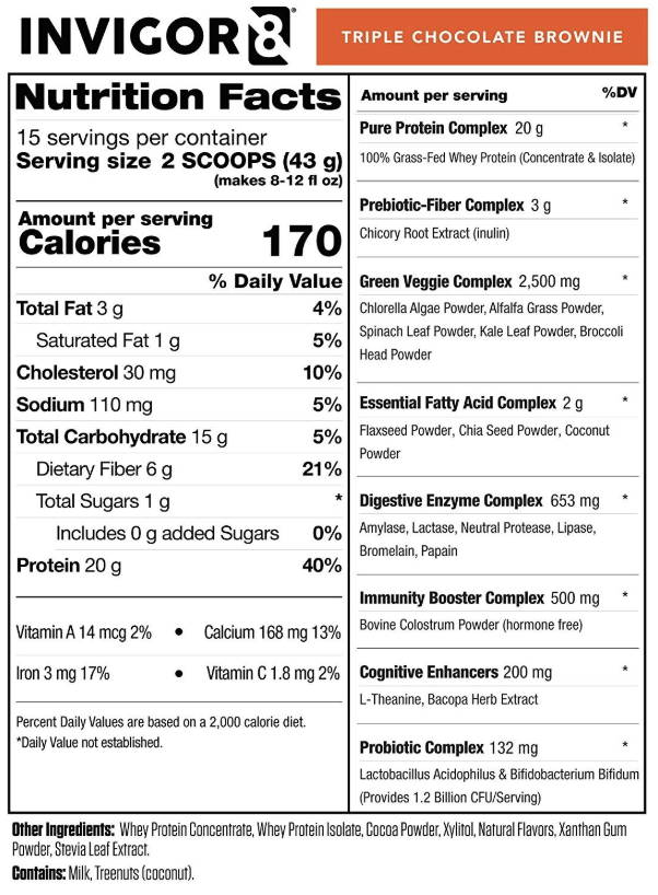 INVIGOR8 Superfood Shake Triple Chocolate Brownie Nutrition Facts
