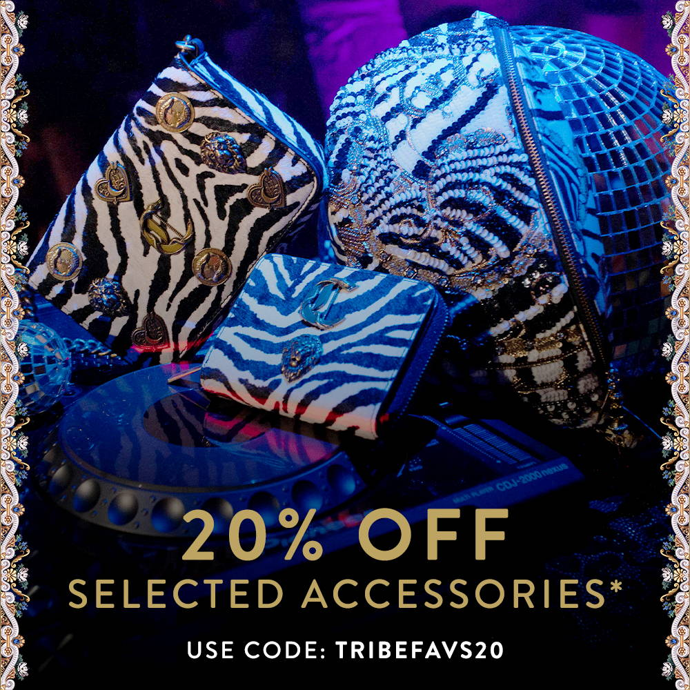 20% Off Selected Accessories* Use Code: TRIBEFAVS20 | CAMILLA black and white zebra print accessories with CAMILLA embellishments