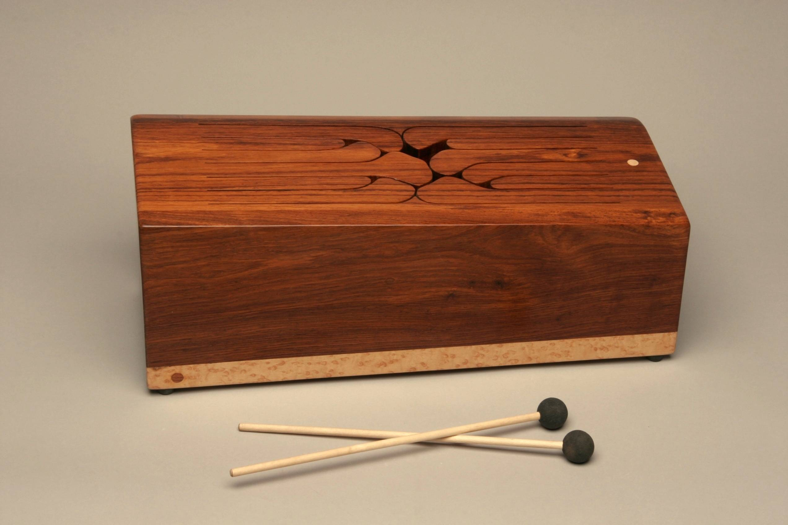 Chorded 12-key wooden tongue drum with two mallets