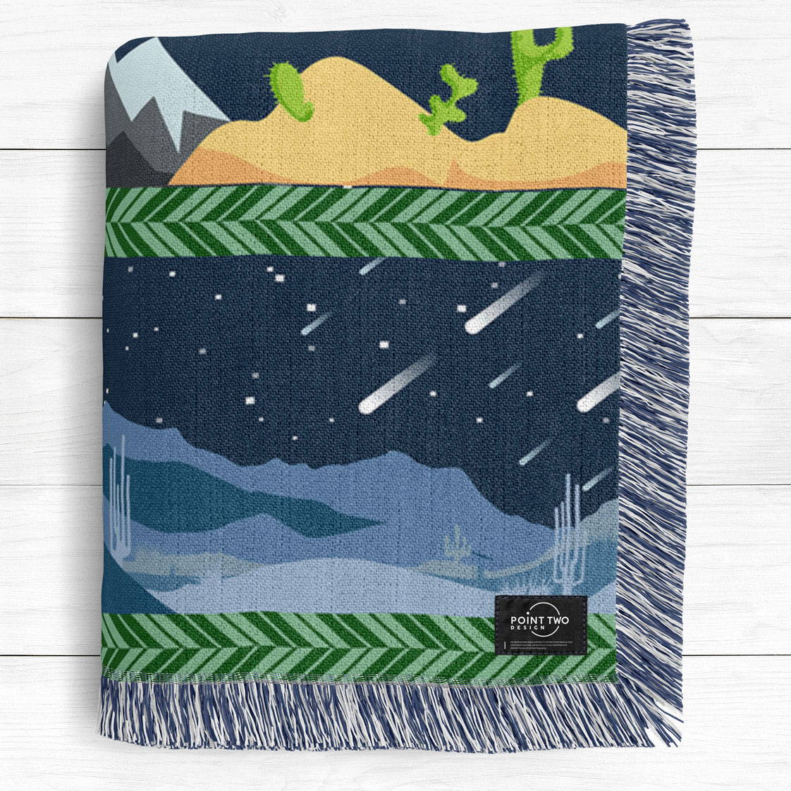 modern illustrated artwork of california state from north to south as a cotton woven blanket