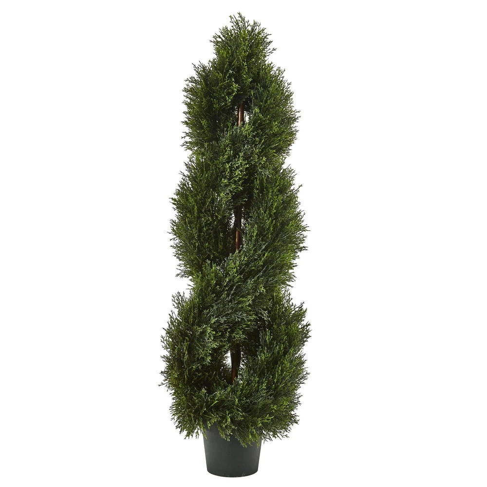 Nearly Natural 4' Double Pond Cypress Spiral Topiary UV Resistant (Indoor/Outdoor)