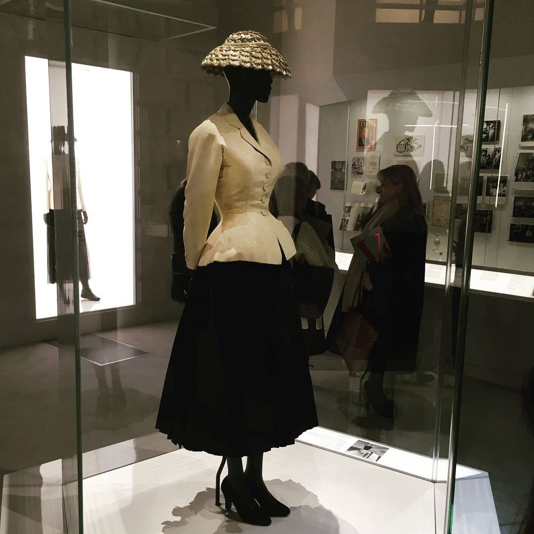 Christian Dior's Bar Suit on display at the V&A Museum