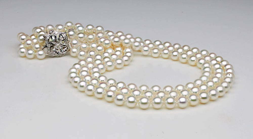 Custom Design Japanese Akoya Pearl Triple Strand Necklace