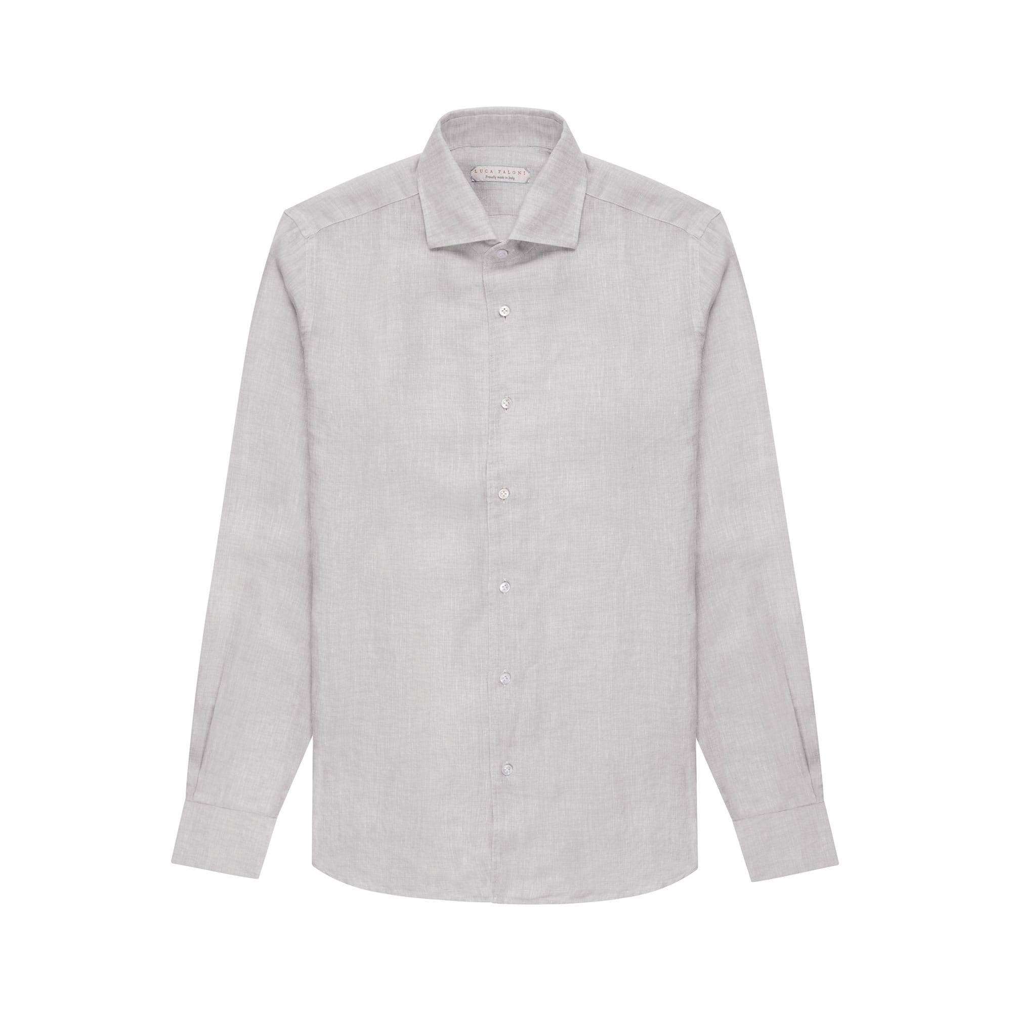 Luca Faloni Light Grey Portofino Linen Shirt Made in Italy