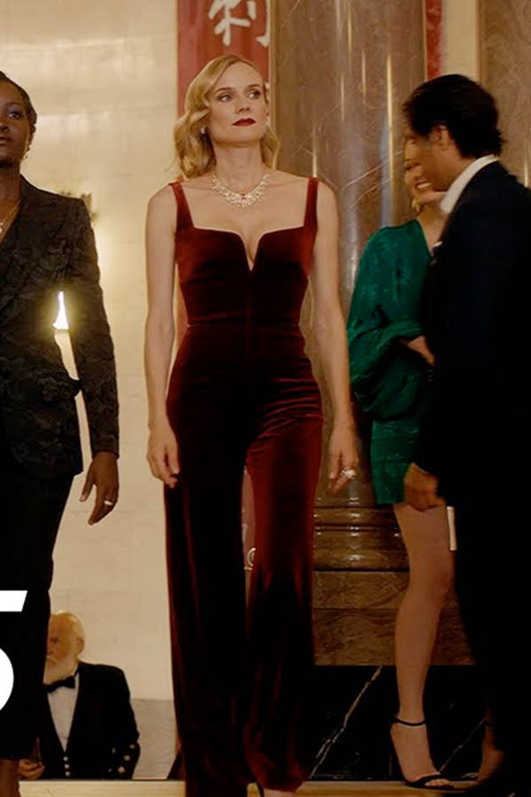 Diane Kruger wears Galvan London  Wide Leg Purple Velvet Corset Jumpsuit