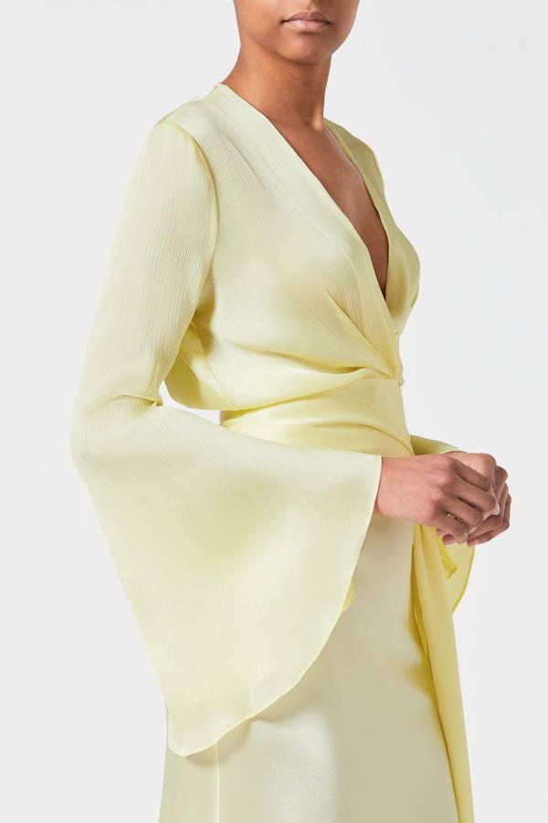 Galvan London V-Neck Long Sleeve Satin Back Crepe Yellow Top