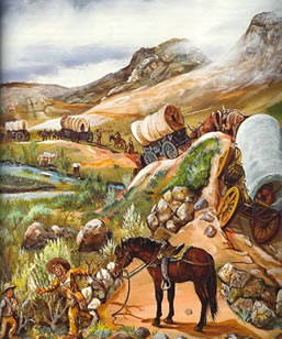 Pioneer painting of the Oregon Trail by Gary Stone
