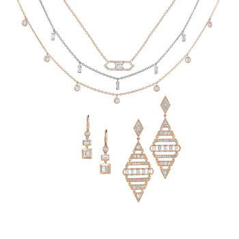 Rose gold and diamond jewelry set