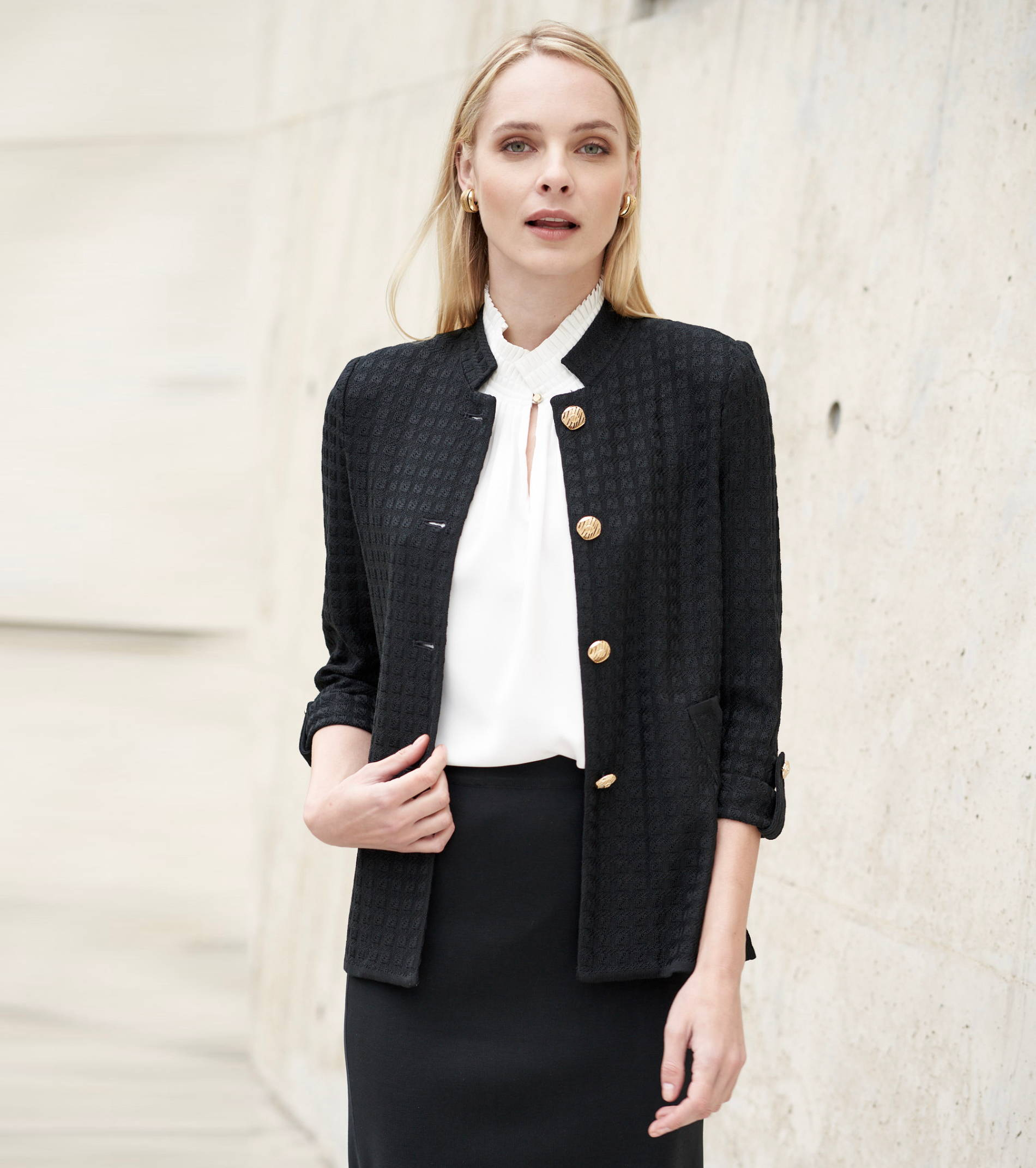 Online Exclusive! Mandarin Textured Knit Jacket in Black   Ming Wang