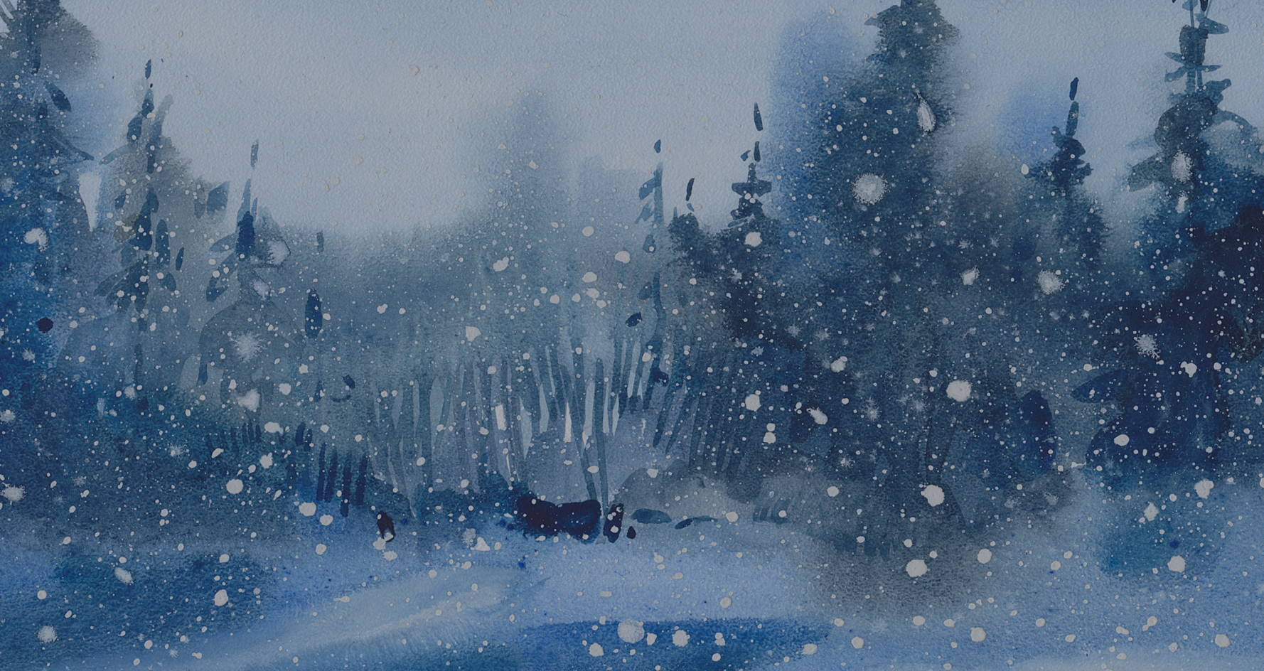 Watercolor tree and snow scene